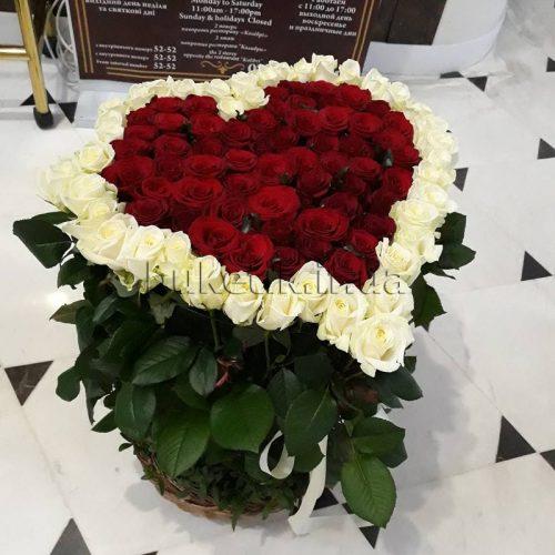 Фото товару 101 троянда серце в кошику