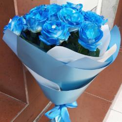 Фото товару 17 синіх троянд (фарбовані)