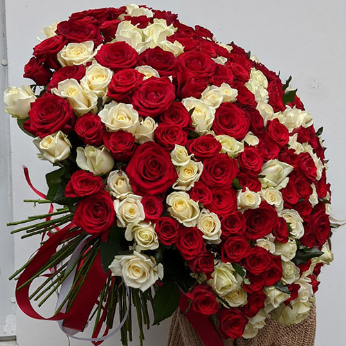 фото букета 101 червона та біла троянда