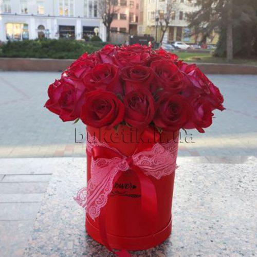 Фото товару 21 червона троянда в коробці