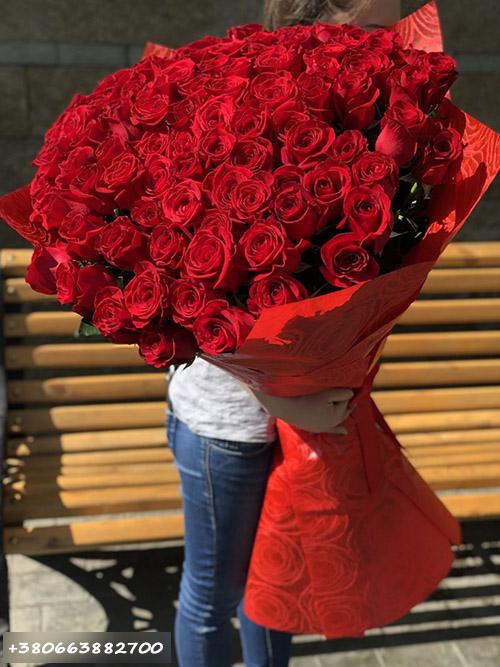 фото доставки 101 метрова троянда