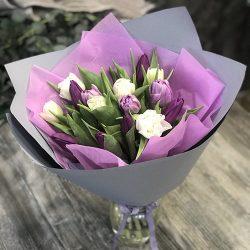 букет 15 тюльпанів мікс
