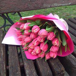 букет 49 рожевих тюльпанів