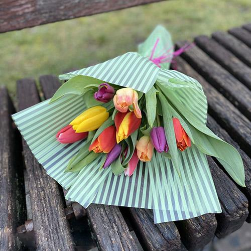 букет різнокольорових тюльпанів