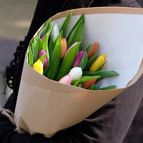 15 тюльпанів мікс (всі кольори) фото