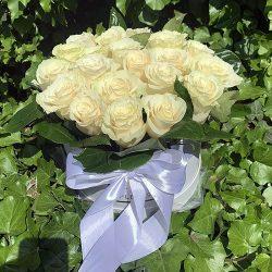 21 біла троянда в коробці фото