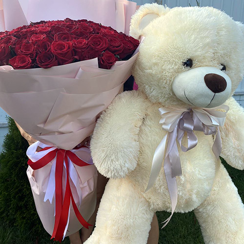 101 троянда та великий ведмедик (80 см) фото